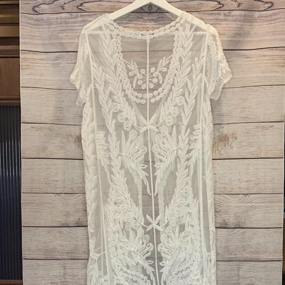 Woven Heart Tops - Woven Heart Lace Crochet Boho Open Topper Kimono